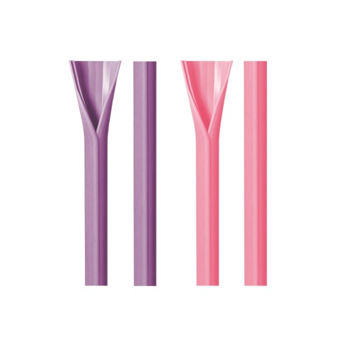 [ABLIFE] REUSABLE OPENABLE SILICON STRAWS FOR BUBBLE TEA (PINK STRAW*1 + PURPLE STRAW*1)