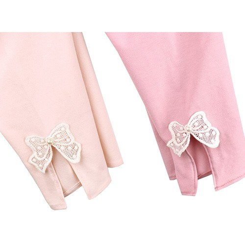 [Chatter carrot] Girl's Top Leggings (pink and ivory)