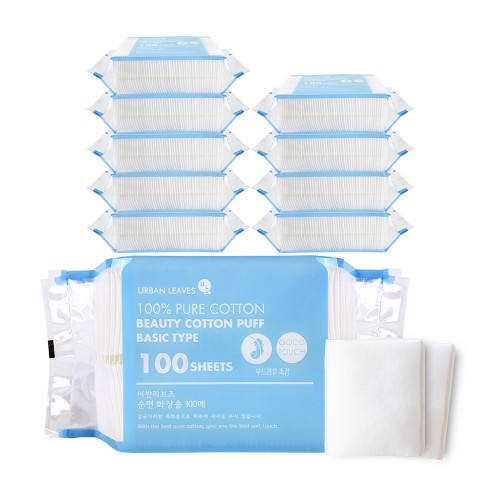 [URBAN LEAVES] PURE COTTON PADS (100 sheets x 10ea)