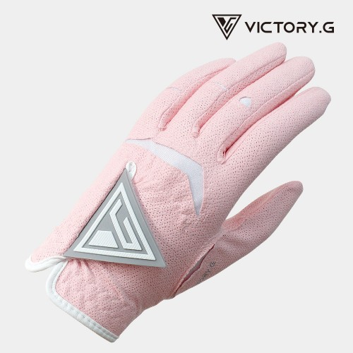 [Victory.G] Women's Cool-Air Pink(Gray) Golf Gloves/Pair Both Hand (SIZE 18~21)