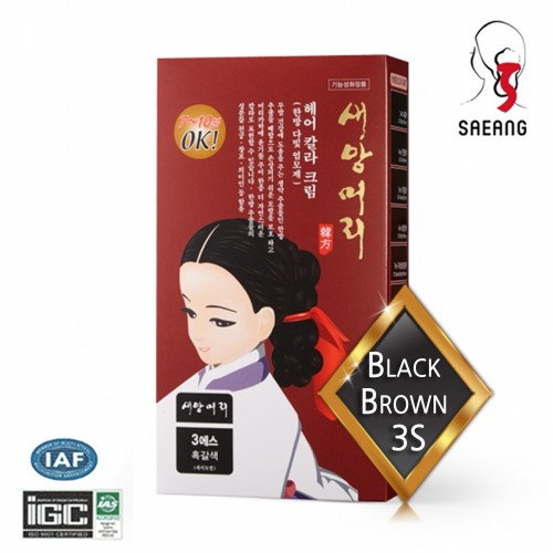 [saeangmeori] Hair Color Cream 3S (Black Brown) 60g+60g For Gray Hair