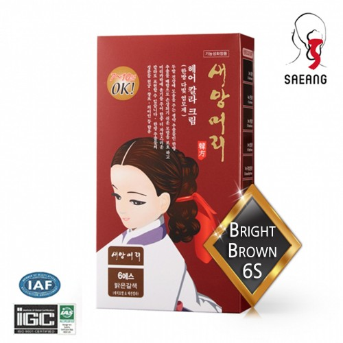 [saeangmeori] Hair Color Cream 6S (Bright Brown) 60g+60g For Gray Hair