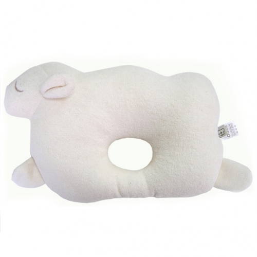 [ACE BEDDINGS] 100% Organic Cotton Baby Prevent Flat Head, Sheep Style Pillow_WHITE