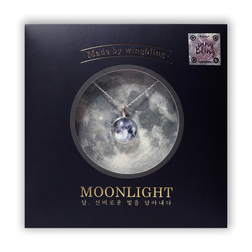 [Wingbling] 925 Silver Glow in the dark White moon Necklace