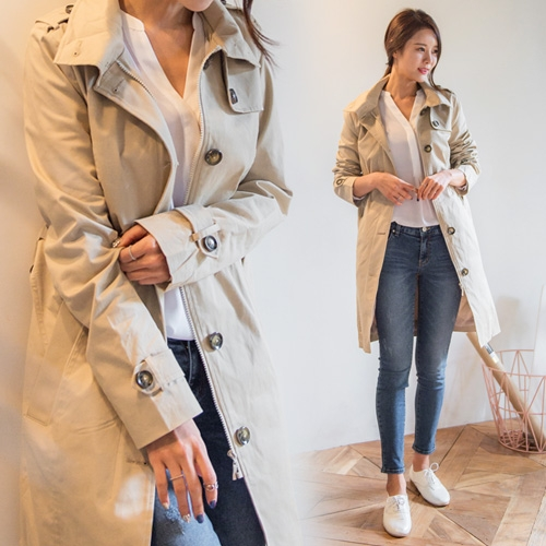 [Classy Michelle] Zipper double trench coat