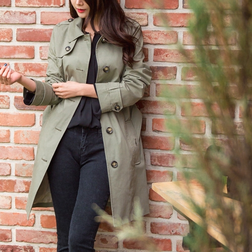 [Classy Michelle]  One button trench coat (KHAKI)