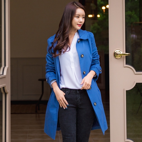 [Classy Michelle]  One button trench coat (Blue)