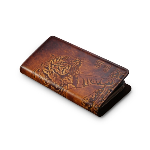 Andantannerie Leather Phone case Compatible with Galaxy S10, Handmade Leather flip Phone case (s10 2623)