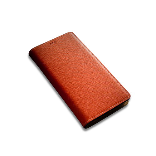 [Andantannerie] Leather Phone case Compatible with Galaxy S10, Handmade Leather flip Phone case (s10 2632o)