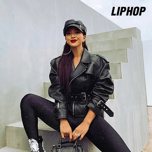 [LIPHOP] Belted Real Leather Jacket
