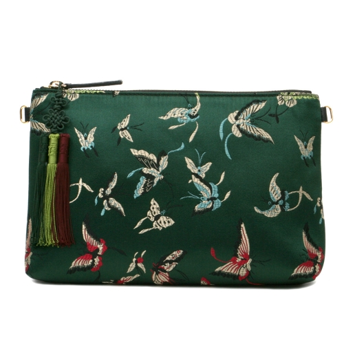 [Kesylang] Womans Handbag, Butterfly Fabric and Cowhide Combined Clutch Bag/ Green
