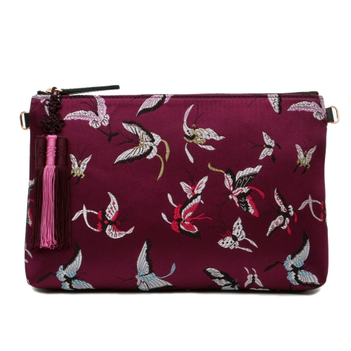 [Kesylang] Womans Handbag, Butterfly Fabric and Cowhide Combined Clutch Bag/ Burgundy
