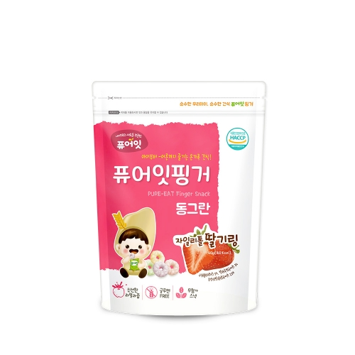 (100P) [NAEBRO] PURE-EAT Finger Brown Rice Xylitol Strawberry Ring (40g*100)