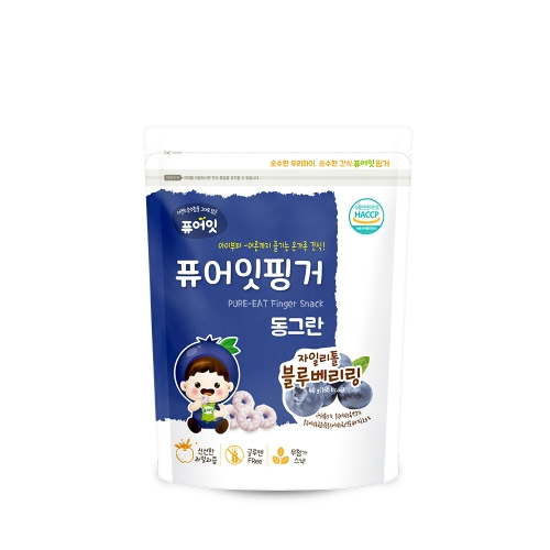 (100P) [NAEBRO] PURE-EAT Finger Brown Rice Xylitol Blueberry Ring (40g*100)