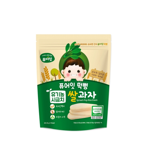 [NAEBRO] PURE-EAT Organic Spinach Pop Rice Snack(6P) (30g*6)