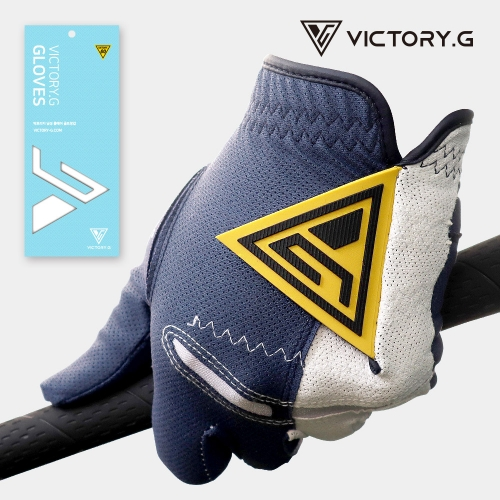 [Victory.G] Men's Cool-Air Navy(Yellow) Golf Gloves/Left/Right Hand (SIZE 22~26)