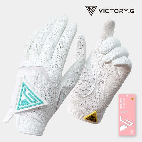 [Victory.G] Women's Cool-Air White(Mint) Golf Gloves/Pair Both Hand (SIZE 18~21)