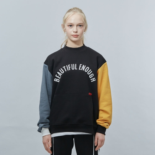 [MOTIVE STREET] COLOR BLOCK SWEATSHIRT - BLACK