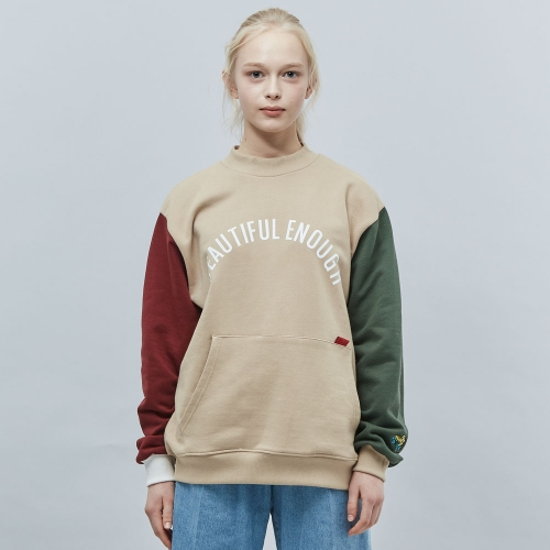 [MOTIVE STREET] COLOR BLOCK SWEATSHIRT - BEIGE