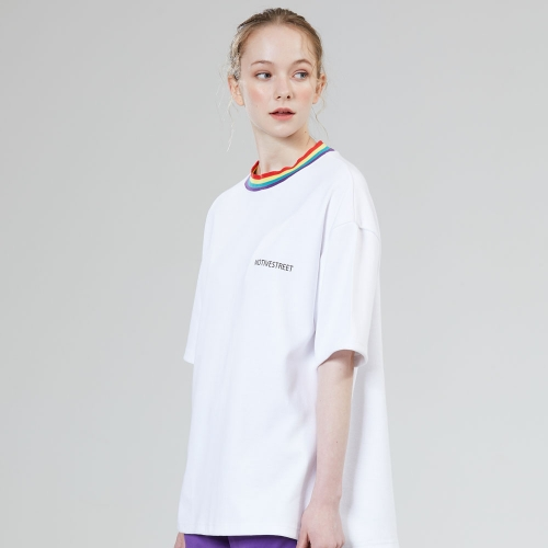 [MOTIVE STREET] RAINBOW NECK POINT TEE WHITE