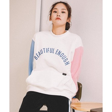 [MOTIVE STREET] COLOR BLOCK SWEATSHIRT - IVORY