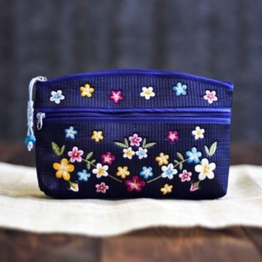 [palbok] Flower-Embroidered Quilted Pouch