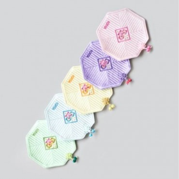[palbok] Embroidered Quilted Cup Saucer Set - Pastel A