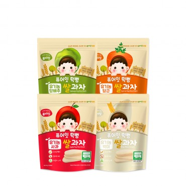 (4P) [NAEBRO] PURE-EAT Organic Pop Rice Snack (4-Type Set: Apple, Cabbage, White Rice, Carrot) (30g*4)
