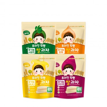 (4P) [NAEBRO] PURE-EAT Organic Pop Rice Snack (4-Type Set: Banana, Spinach, Onion, Purple Sweet Potato) (30g*4)