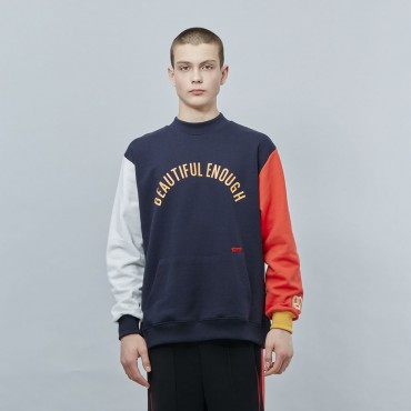 [MOTIVE STREET] COLOR BLOCK SWEATSHIRT - NAVY