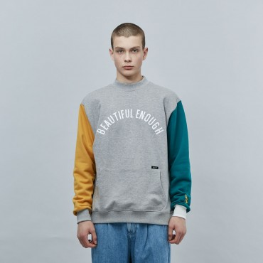 [MOTIVE STREET] COLOR BLOCK SWEATSHIRT - GRAY