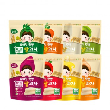 (8P) [NAEBRO] PURE-EAT Organic Pop Rice Snack (8-Type Set: Banana, Apple, Cabbage, Purple Sweet Potato, White Rice, Carrot, Spinach, Onion) (30g*8)