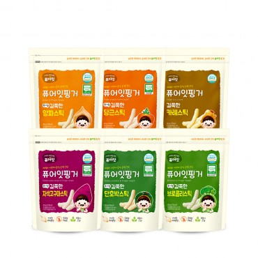 (6P) [NAEBRO] PURE-EAT Finger Organic Vegetable Stick (6-Type Set: Curry, Carrot, Onion, Broccoli, Cabbage, Sweet Pumpkin) (30g*6)